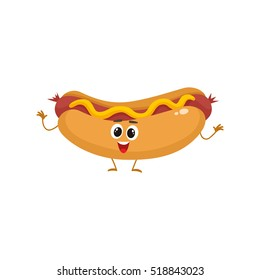 Funny hot dog, wiener, frankfurter character with eyes, legs, and a wide smile