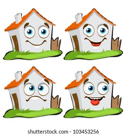 funny house characters with many expressions