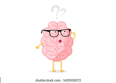 Funny human brain thought character with glasses thinks over question mark. Seeking answer cartoon brain concept. Strong cartoon central nervous system organ seeking answer vector illustration