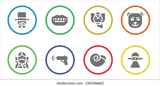 funny icon set. 8 filled funny icons.  Simple modern icons about  - Magician, Ninja, Smile, Water gun, Elephant, Winkle, Panda bear, Aliens