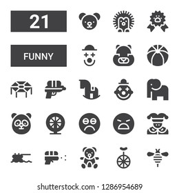 funny icon set. Collection of 21 filled funny icons included Bee, Unicycle, Teddy bear, Water gun, Trampoline, Joker, Angry, Sad, Hamster, Panda, Elephant, Clown, Rocking horse