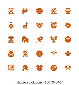 funny icon set. Collection of 25 filled funny icons included Trampoline, Sad, Koala, Paw ribbon, Rabbit hutch, Bee, Angry, Teddy bear, Hamster, Elephant, Joker, Blowfish