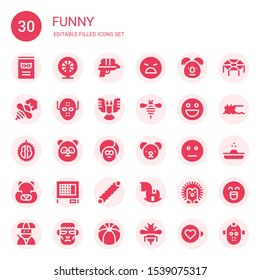 funny icon set. Collection of 30 filled funny icons included Comic, Hamster, Water gun, Angry, Koala, Bee, Serial killer, Deformity, Emoticon, Durian, Panda, Face, Teddy bear