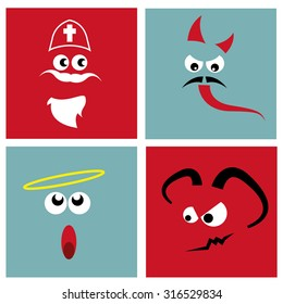 Funny icons with Nicholas, angel and devil