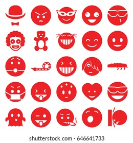 Funny icons set. set of 25 funny filled icons such as teddy bear, smiling emot, crazy emot, emoji in mask, emoji showing tongue, ghost, caterpillar, heart face, party pipe