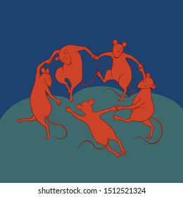 Funny illustration based on Matisse's work. Mice perform the dance - a symbol of the new year 2020 according to the Chinese calendar. Funny and funny picture.