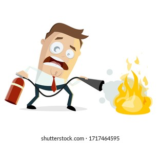 funny illustration of a cartoon man with fire extinguisher