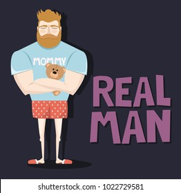 Funny illustration of the character of the bearded man in the guise of a sissy man. Illustration perfect for greeting card. Editable vector illustration