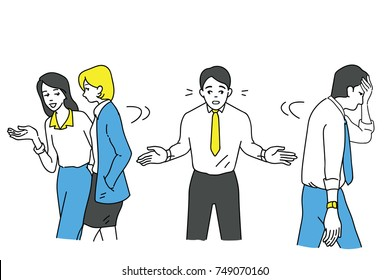 Funny illustration character of boring businessman who try to talk with other friends but no one want to listening to him because of his boring manner, or having relationship problem with colleague.