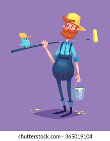 Funny  illustration of cute painter dressed in work clothes with roller and a bucket of paint. Vector cartoon character. Isolated on violet backgound.