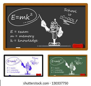 Funny illustration describing the rule to pass the exam. On the chalkboard it's drawn a bizarre scientist. You can easily clear the chalkboard and write your text.