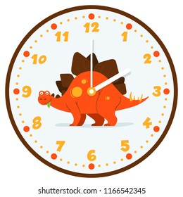 Funny illustration with the dino stegasaurus in the center of the wall clocks. Cool children, kids illustration. Flat design. Bright colors.