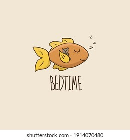 Funny illustration with fish. Ideal for posters, greeting cards, prints for clothes, notebooks, mugs, for stickers, banners, booklets, posts.