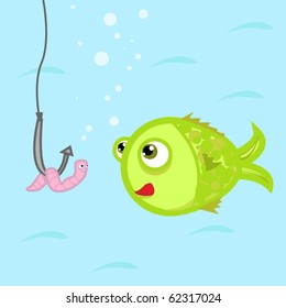 funny illustration with a fish and a worm on a fish hook