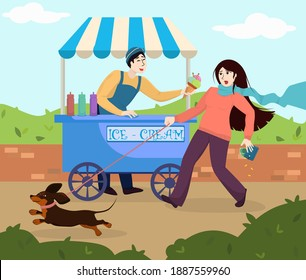 funny illustration with an ice cream vendor and a young woman dropping a purse with money due to the fact that she is being pulled by a dachshund dog