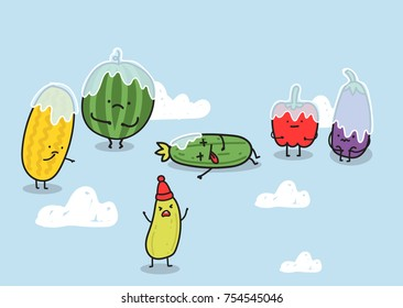 Funny illustration with icy vegetables and fruits characters. Watermelon, melon, pepper, zucchini, eggplant stand around dead frozen cucumber. Freezing on the farm. Humorous vector image about harvest