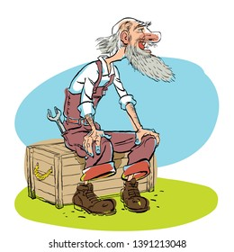 Funny illustration of old man cartoon character. Old master, sitting oldster.