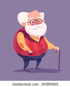 Funny  illustration of old man cartoon character. Isolated vector illustration.