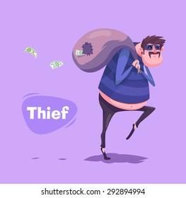Funny  illustration of a thief or burglar cartoon character. Vector