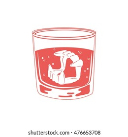 Funny illustration vampire jaws with fangs in glass with water for set of false teeth