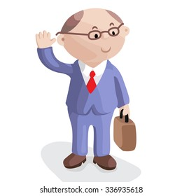 Funny image for a presentation. Cartoon businessman in suit and tie with briefcase. Vector illustration.