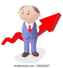 Funny image for a presentation. Cartoon businessman in suit and tie with arrow. Vector illustration.
