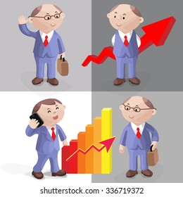 Funny images for a presentation. Cartoon businessman in suit and tie with briefcase, arrow, graph. Vector illustration.