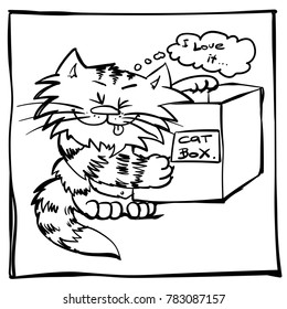 Funny infantile outline sketch cat for coloring book. Kitty with box print for shirt. Doodle smiling cartoon happy tomcat.
