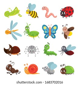Funny insect set, bug, beetle, butterfly symbol. Entomology and environment. Vector cute insects cartoon illustration isolated on white background