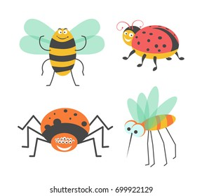 Funny insects with cute faces isolated illustrations set