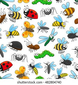 Funny insects seamless pattern background with cartoon bee, butterfly, bug, fly, caterpillar, dragonfly, mosquito, ladybug, wasp, ant, spider and bumblebee characters