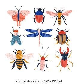 Funny insects. Set with spring and summer insects. Hand drawing illustration. Bug species and exotic beetles icons collection.