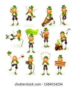 Funny Irish fantastic character, gnome leprechaun set. Feast day of Saint Patrick. Leprechaun laughs bouncing, looking for gold, drinking beer, holding of bagpipe, throws gold coins cartoon vector