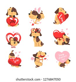 Funny Jack Russell Terrier dog with hearts set, cute Valentine animal character vector Illustration