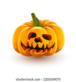 Funny jack-o'-lantern. Halloween pumpkin isolated on white background. Funny toothy Halloween pumpkin