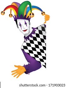 Funny Jester Behind Whiteboard. EPS 10 vector, grouped for easy editing. No open shapes or paths.