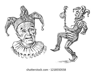 Funny jester in fool's cap. Clown in costume. Comedian character. Vintage engraved illustration. Monochrome style.