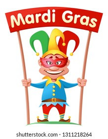 Funny jester holding Mardi gras banner. Cartoon styled vector illustration. Elements is grouped. On white background.