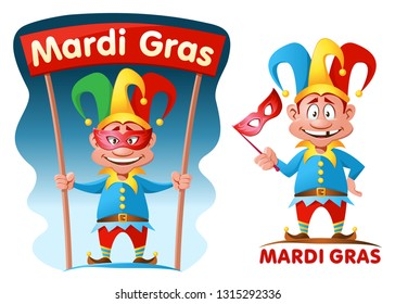 Funny jester in mask holding Mardi gras banner. Cartoon styled vector illustration. Elements are grouped. On white and dark background.