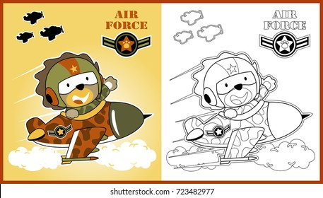 funny jet pilot, vector cartoon illustration, coloring book or page