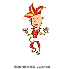 Funny joker celebrates fools day. Hand drawn vector cartoon illustration.