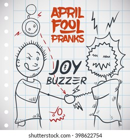 Funny joy buzzer prank for April Fools' Day with a draw of a man being shocked, so electrifying!
