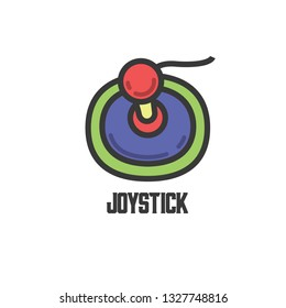 funny joystick logo with one analog with dark grey outline, cool purple joystick with green background, red and yellow joypad with cable, great joypad and joystick flat logo