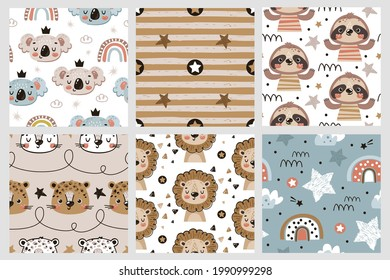 Funny jungle animals seamless patterns for kids
