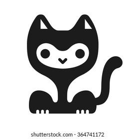 Funny kawaii cat character. Vector image.
