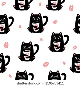 Funny kawaii cats with coffee cup and beans, cute seamless pattern background