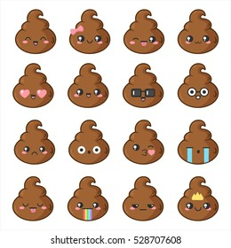 Funny and kawaii stickers (emoji) with cute poop. Vector illustrations.