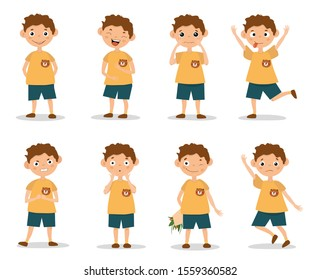 Funny kid boy emotion expressions. Boy showing facial emotions and various gestures. Isolated on white with shadow, vector illustration set