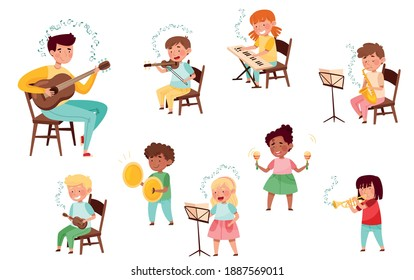 Funny Kid Characters Playing Violin and Saxophone at Music Lesson Vector Set
