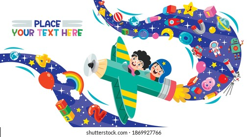 Funny Kid Flying On Colorful Pencil